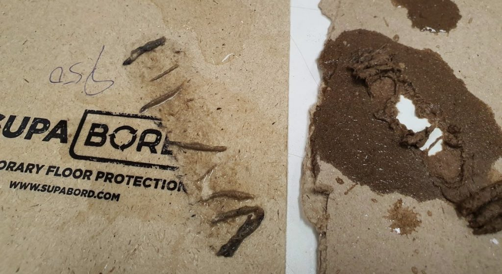 SupaBord (left) Showing only light abrasion compared to Buffalo Board (right)